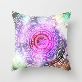 Modern Mandala Spiral Galaxy Space Textured Multi Colored / Pink Green Gray Black Throw Pillow