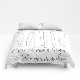 A pencil and a dream... white! Comforters