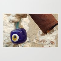 evil eye Area & Throw Rugs featuring evil eye bead by habish