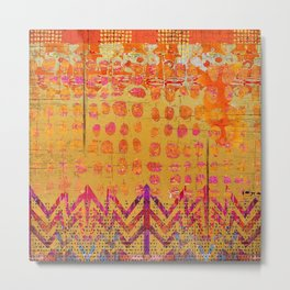 Gold and Orange Dot Abstract Art Collage Metal Print