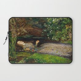 Ophelia Brick Wall Painting by Sir John Everett Millais Laptop Sleeve