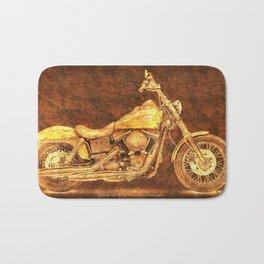 Harley Dyna Street Bob 2017 Golden art on brown stone Bath Mat
