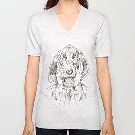 Sad Bloodhound Unisex V-Neck