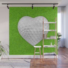 Golf ball heart / 3D render of heart shaped golf ball Wall Mural