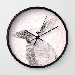 Bunny Print - Mosaic Nursery Decor, Baby Animal Wall Art Poster Wall Clock
