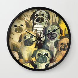 pug's squad Wall Clock