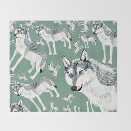 Totem Alberta Wolf Throw Blanket