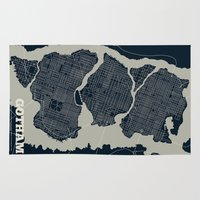 gotham Area & Throw Rugs featuring Gotham City Streets Map by CartoPosters Maps