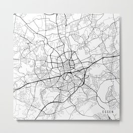 Essen Map, Germany - Black and White Metal Print