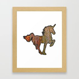 Wooden Unicorn Sign With A Fiery Tail Framed Art Print