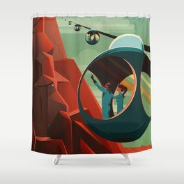 THE VOLCANO OF MARS - Olympus Mons | Space | X | Retro | Vintage | Futurism | Sci-Fi Shower Curtain