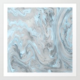 Ice Blue and Gray Marble Art Print