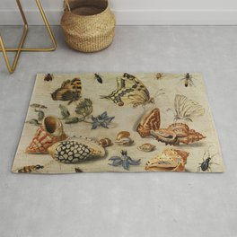 "Jan van Kessel de Oude ""Seashells, butterflies, flowers and insects"" Rug"