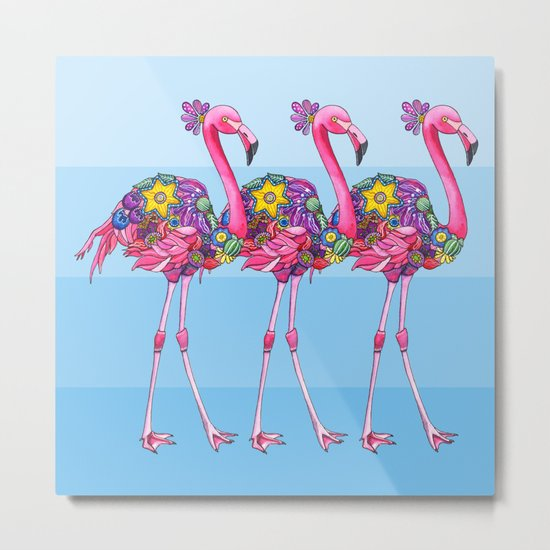 A Small Flock of Flamingos Metal Print