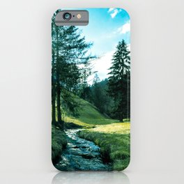 Green fields, trees and a magical brook iPhone Case
