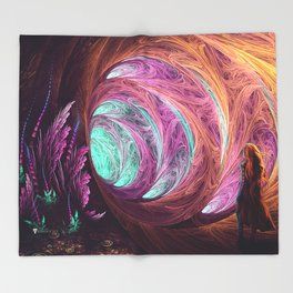 Towards The Light - Alice in Wonderland - White Rabbit - Fractal Throw Blanket