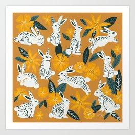 Bunnies & Blooms - Ochre & Teal Palette Art Print