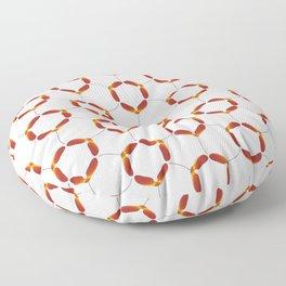 Red Japanese Maple Tree Samara Rounded Hex Pattern Floor Pillow