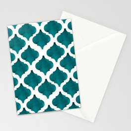 Watercolor seamless quatrefoil pattern in green turquoise  Stationery Cards