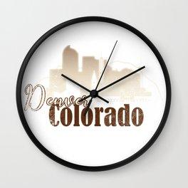 Denver Colorado Grunge Skyline Wall Clock