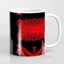 Black White Red Abstract Textured Pattern Coffee Mug