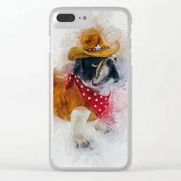Cowboy Bulldog Clear iPhone Case