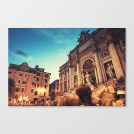 trevi fountain on the night Canvas Print
