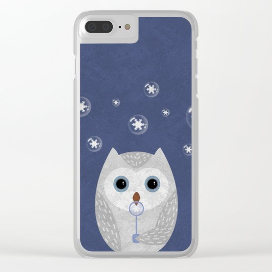 Christmas Owl Blue Marble Clear iPhone Case