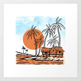 Tropical Vibes, Nature illustration landscape hut, palm trees on a cloudy blue sky, Rural summer Art Print