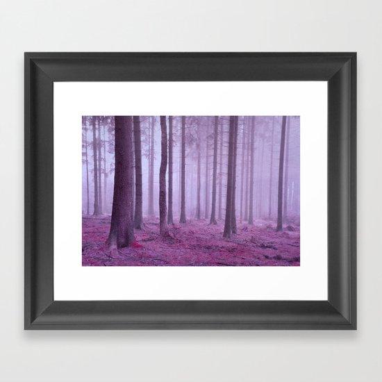 misty trees Framed Art Print