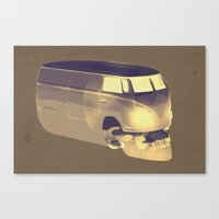 volkswagen Canvas Prints featuring Skull Volkswagen by Bright Enough💡