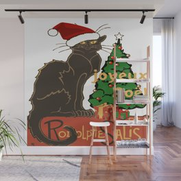 Joyeux Noel Le Chat Noir With Tree And Gifts Wall Mural