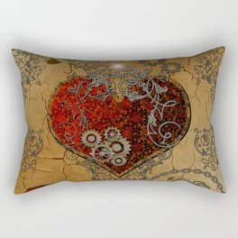 Steampunk, awesome heart Rectangular Pillow