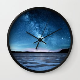 Duck prints on Lime Lake Ice under the Milky Way Wall Clock