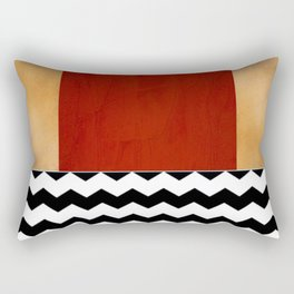 Shiny Copper Crimson Red And Black And White Chevron Pattern Rectangular Pillow