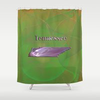 tennessee Shower Curtains featuring Tennessee Map by Roger Wedegis