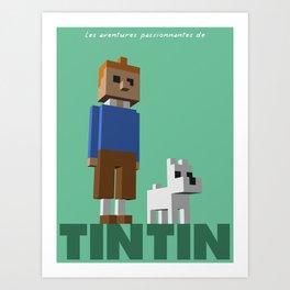 Tintin voxel tribute Art Print