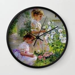 Beautiful Painting Of Two Girls Picking Flowers Wall Clock