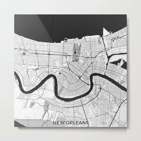 New Orleans Map Gray Metal Print