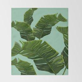 Hawaii Palm Tree Leaves Throw Blanket