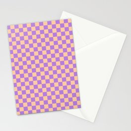 Deep Peach Orange and Lavender Violet Checkerboard Stationery Cards