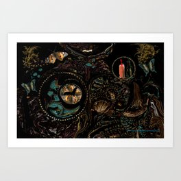 Circles and Jewels... collage-abstract Art Print