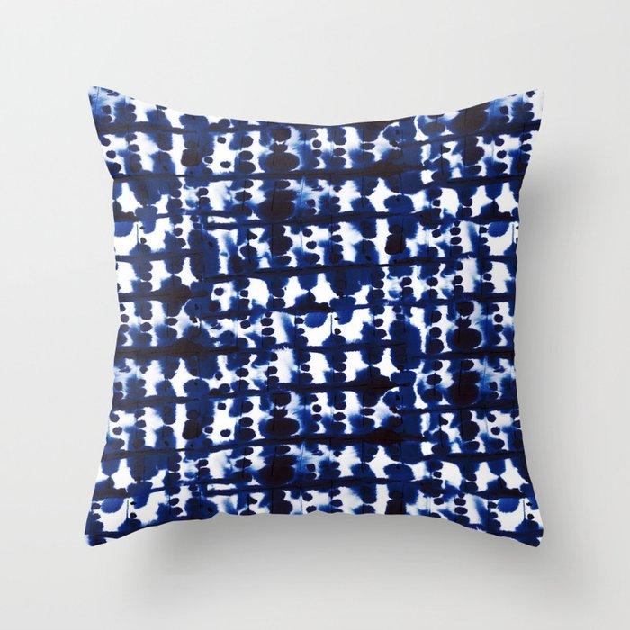 Parallel Indigo Throw Pillow