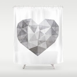 Fractal heart in shades of gray Shower Curtain