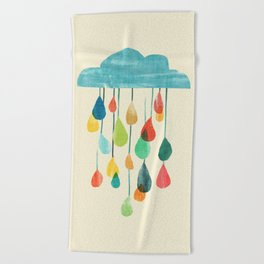 cloudy with a chance of rainbow Beach Towel