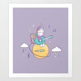 Unicorn guitar player Art Print