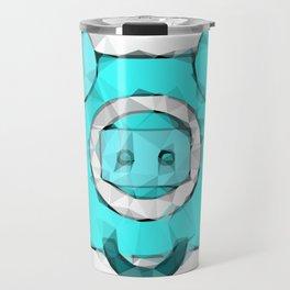 blue pig portrait geometric triangle pattern abstract Travel Mug