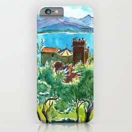 View of the sea and Monastery of Santa Croce, Liguria iPhone Case