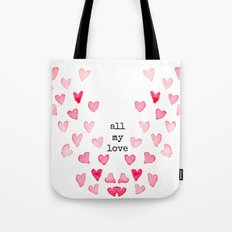 All My Love - Hearts Tote Bag
