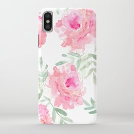 Watercolor Peonie with greenery iPhone Case